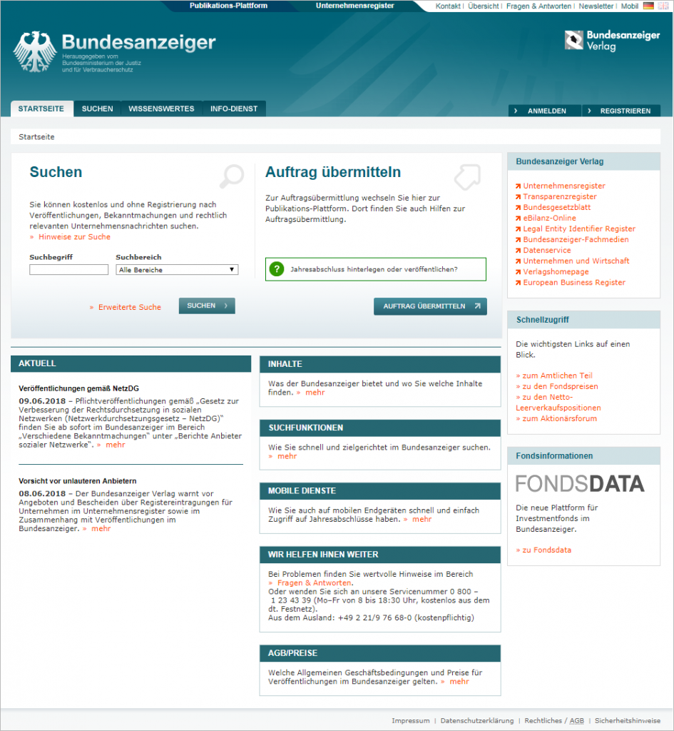 Firmen API Bundesanzeiger